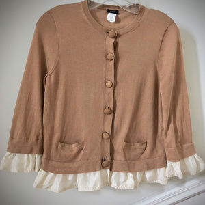J.Crew Cardigan with Ruffled Trim